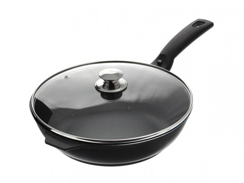 Frying Pan Kukmara, Tradition, 26 cm, with non-stick coating, with removable handle, glass cover frying pan griddle kukmara tradition 24 cm with non stick coating with removable handle