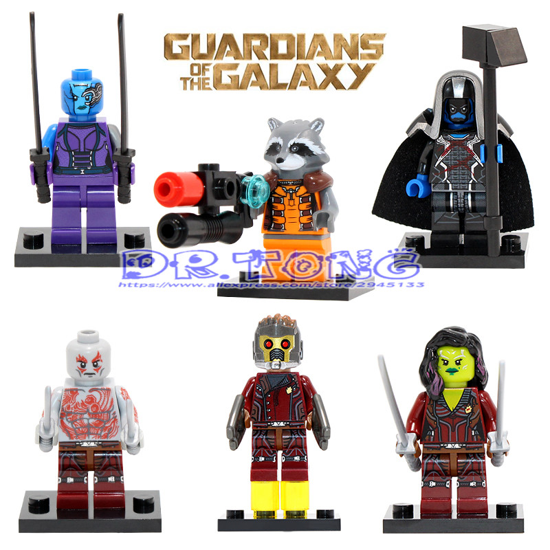 DR.TONG Super Hero Guardians of the Galaxy Peter Quill Tree Man Ronan Rocket Raccoon Star Lord Drax Building Blocks Bricks Toys 2015 new funko pop marvel guardians of the galaxy nebula ronan thanos the collector yondu figures child toys