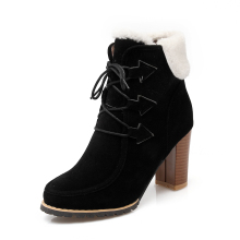 women's boots women ankle boot new fashion autumn suede snow boots women Short Plush neri Nubuck Leather Square heel Round Toe