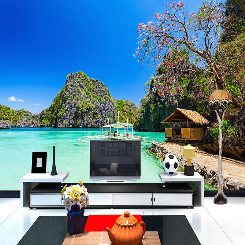 custom cualquier tamao de la foto d cabaas junto al mar playa del ocano paisaje fotografa de fondo pared de la sala mural w