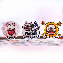 hot deal buy 40 pcs/lot cartoon cure bulldog decoration adhesive stickers diy paper stickers diary sticker scrapbook stationery stickers