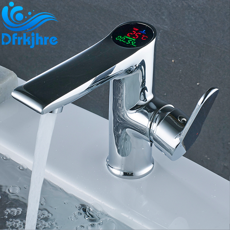 Chromed Bathroon Sink Faucet With Temperature Control: Temperature Display Basin Faucet Chrome Brass Bathroom