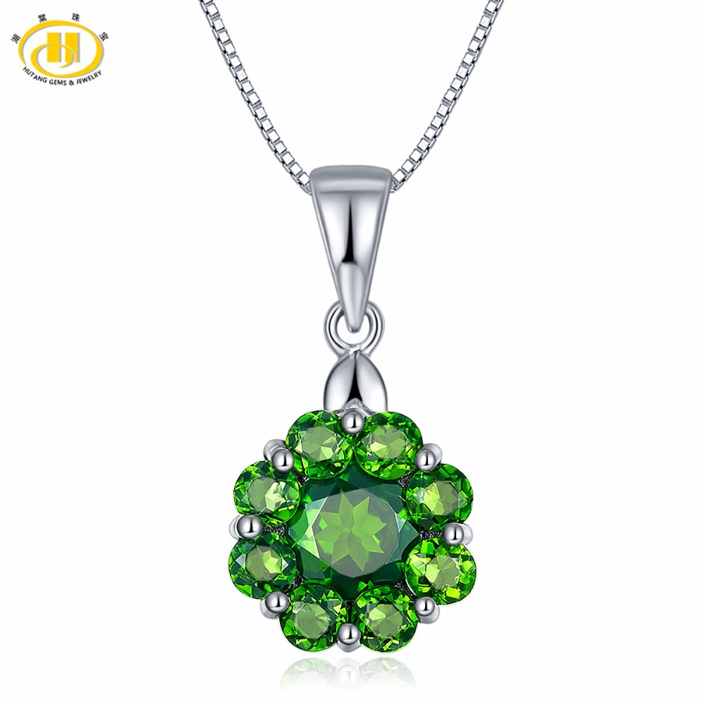 Hutang Trendy Solid 925 Sterling Silver 2.83ct Natural Gemstone Chrome Diopside Flower Pendant Necklace Fine Jewelry For Women trendy rhinestone flower pendant necklace for women
