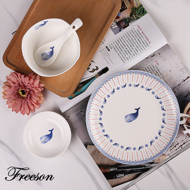Brief Anime Whale Porcelain Tableware Set with Bowl Dishes Plates Advanced Ceramic Cutlery Dinnerware for Home & Brief Anime Whale Porcelain Tableware Set with Bowl Dishes Plates ...
