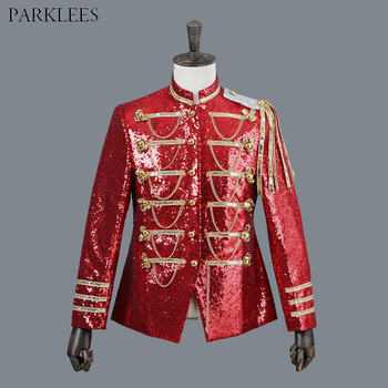 Shiny Red Sequin Gothic Blazer Jacket Men Brand Stand Collar Single Breasted Blazers Para Hombre DJ Party Stage Prom Costumes