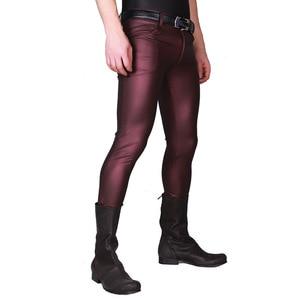Image 5 - Stylish Male Khaki Cool Bright Thin Matte Light Imitation Leather Pants Men Stretch Tight leg pants Casual Leather Pants Stage