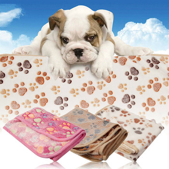 2016 High Quality Pet Dog Cat Soft Fleece Blanket Warm Paw Print Bed Small/Large Multi Purpose Mat Pet Supplies 1