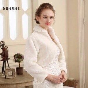Image 1 - SHAMAI Fur Shawl Wedding Wrap women Winter Long Sleeve Lvory Bridal Jackets Married Outerwear Bride Cape Autumn Winter Jacket