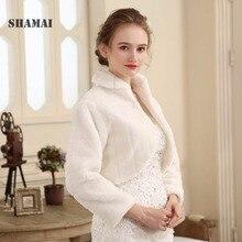 SHAMAI شال فرو الزفاف التفاف المرأة شتاء طويل الأكمام Lvory سترات الزفاف متزوج ملابس خارجية العروس الرأس الخريف الشتاء سترة