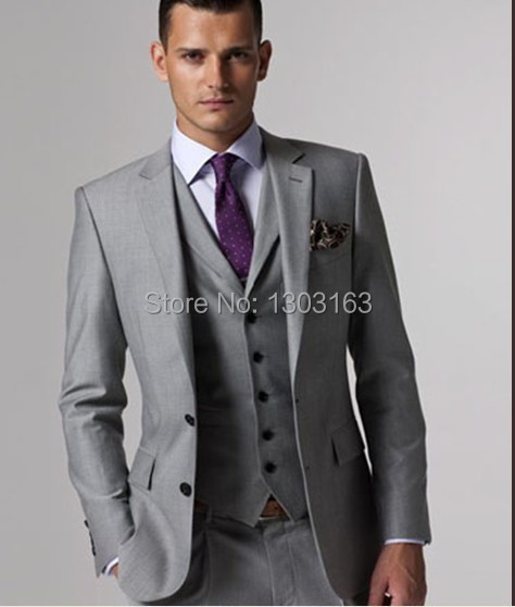 Men Suits Slim Fit Peak Lapel Groom Suit Grey Wedding Business