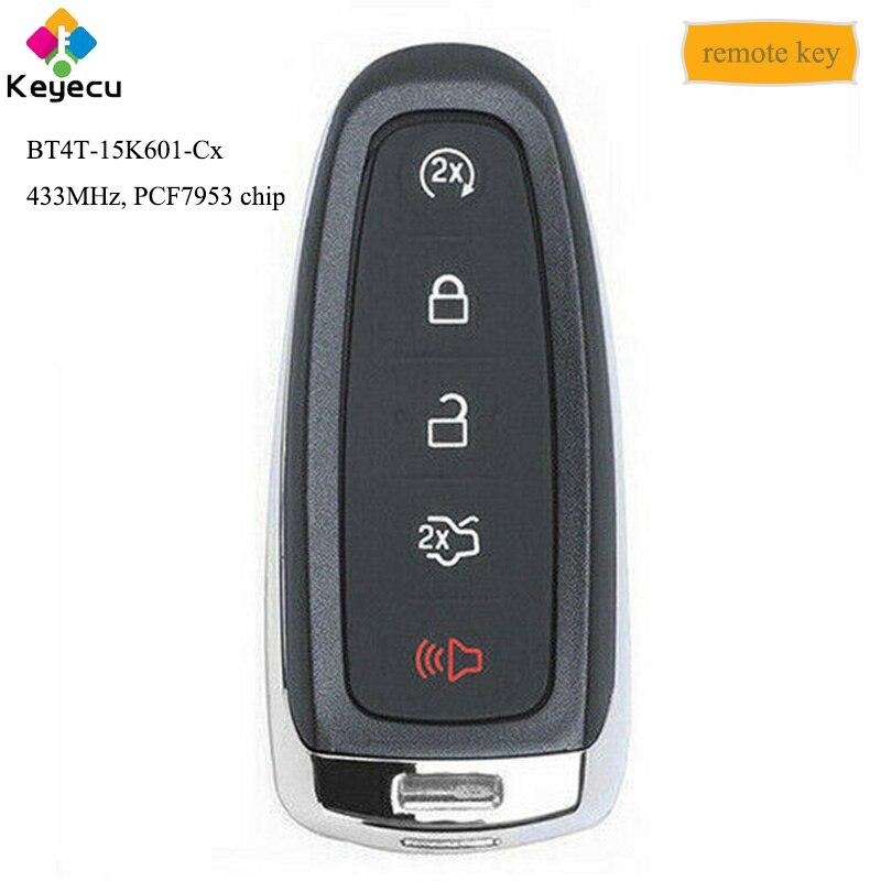 KEYECU clé de voiture télécommandée intelligente sans clé avec 5 boutons et 433 MHz et PCF7953 puce-FOB pour Ford Edge Focus BT4T-15K601-Cx