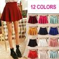 12 colors women sexy mini skirts high waist elastic pleated skirt female candy color short skirt ladies skater skirt D22