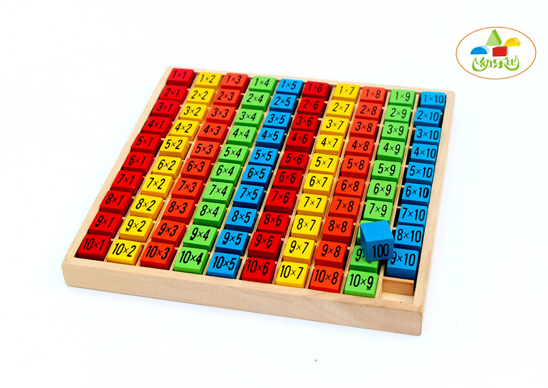Pengiriman gratis bayi mainan kayu, 99 tabel perkalian, Matematika mainan, 10 * 10 blok angka anak-anak belajar pendidikan hadiah montessori