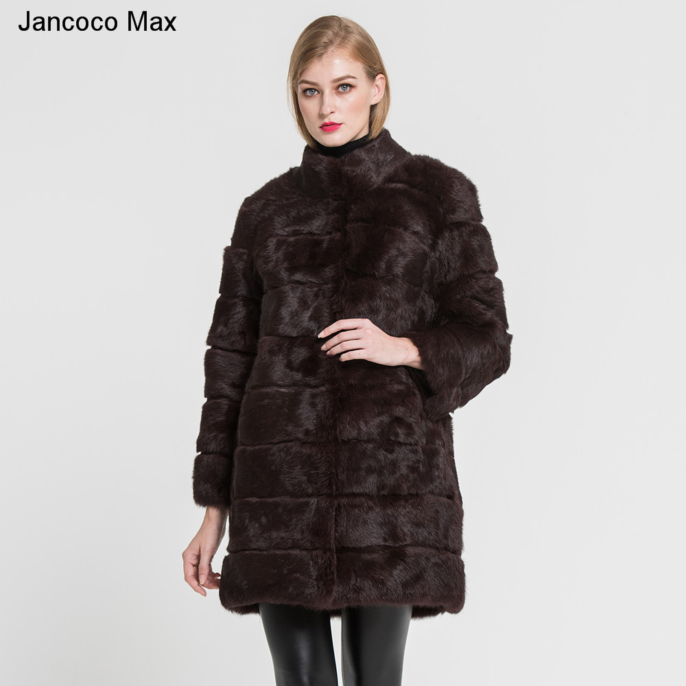 Jancoco Max 2019 New Winter Real Rabbit Fur Jacket Warm Soft Long Fur Coat Women Christmas Dress S1675