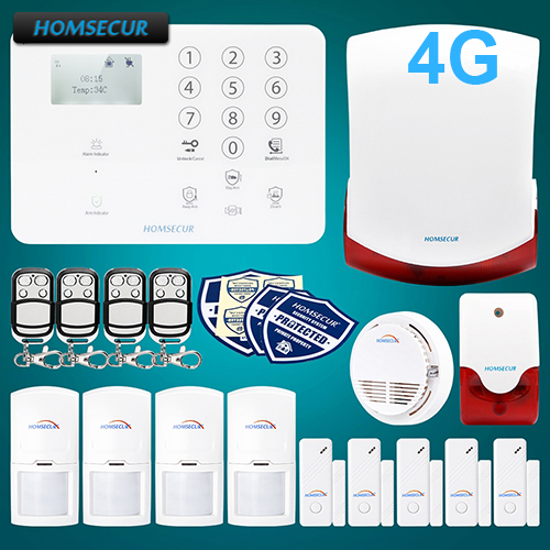 HOMSECUR Wireless&wired 4G/GSM Home Security Alarm System+Wireless Flash Siren GA01-4G-W free shipping xc5vlx50t 1ffg665i xc5vlx50t bga 665 new original stock
