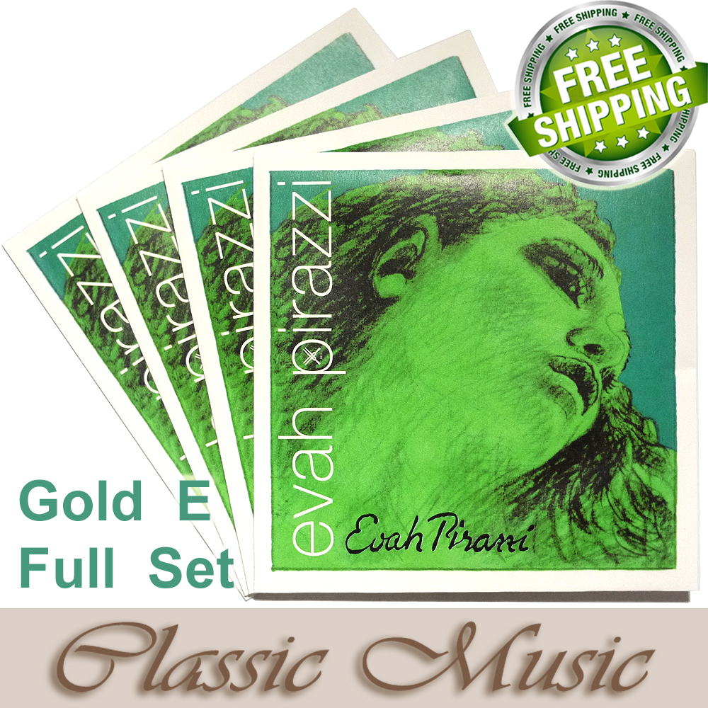 Free shipping ,Evah Pirazzi 4/4 Violin Strings  Full Set(419521), Gold E ,Set Ball End made in Germany free shipping evah pirazzi violin strings full set ball end made in germany for 4 4