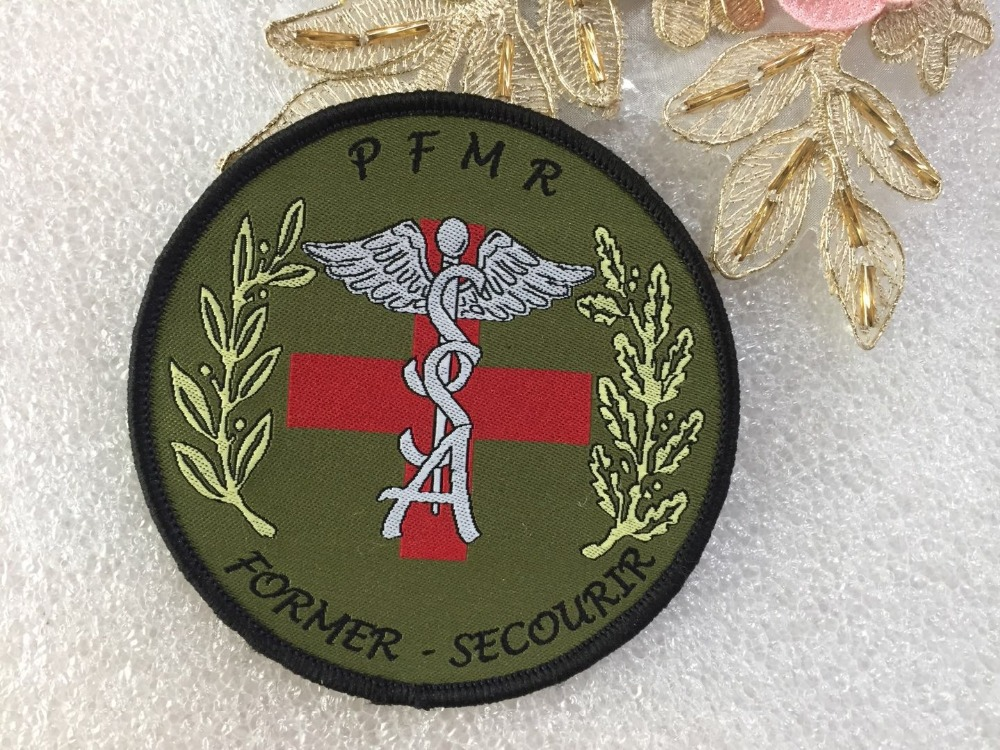 Hook loop patch Custom logo design washable clothing badges woven sew on iron on patches for