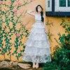 Women Organza Embroidery Dress Multi Layer Layered Formal Dress Puff Beach Cupcake Sweet Long Dress Mori
