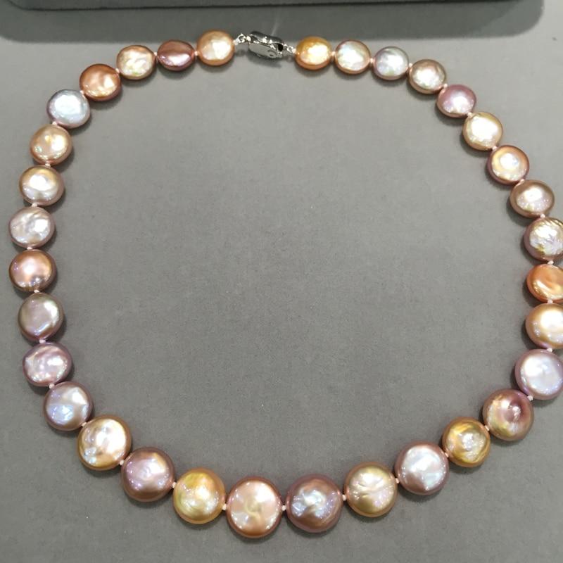 11-13 MM naturel eau douce collier de perles Multi couleur coin perle bouton mode femmes bijoux livraison gratuite