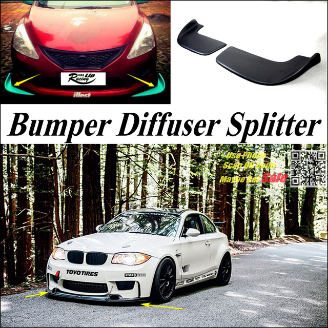 Car Splitter Diffuser Bumper Canard Lip For BMW 1 M1 E87 E81 E82 E83 F20 F21 Tuning Body Kit / Front  Fin Chin Car Reduce Body