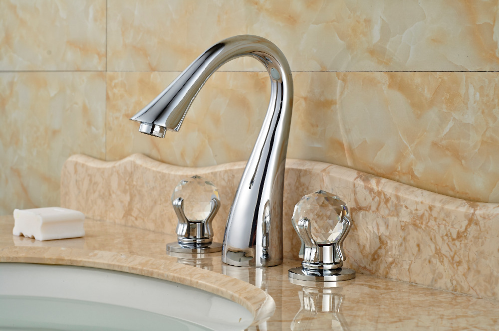 Crystal Handles Chrome Brass Bathroom Basin Faucet Widespread Sink Mixer Tap бра arte lamp calamaro a2046ap 1wg