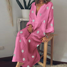 цены на Women Cotton and Linen Dress 2019 Button Down Maxi Shirt Dress Polka Dot Boho Beach Dress Female Casual Long Sleeve Long Dress  в интернет-магазинах