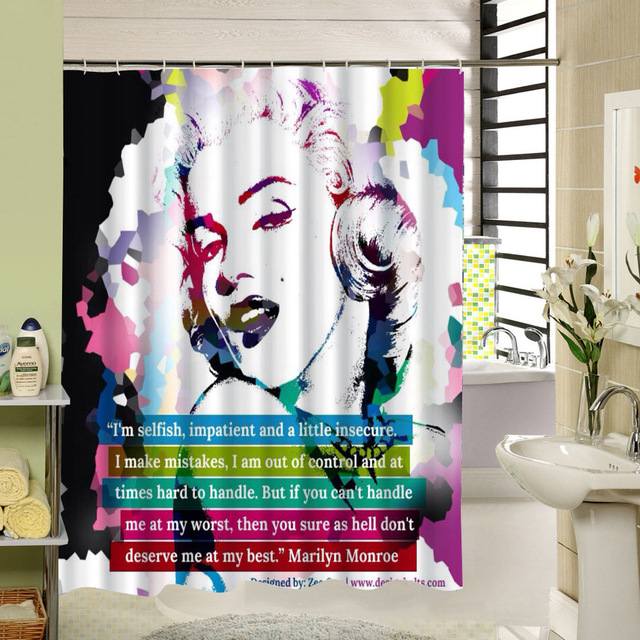 Marilyn Polyester Shower Curtain Waterproof Pattern 3d Curtain for ...