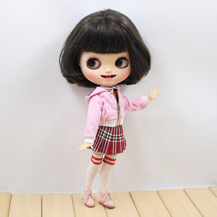 Neo Blythe Doll Red Skirt White Shirt Stocking Pink Coat 1