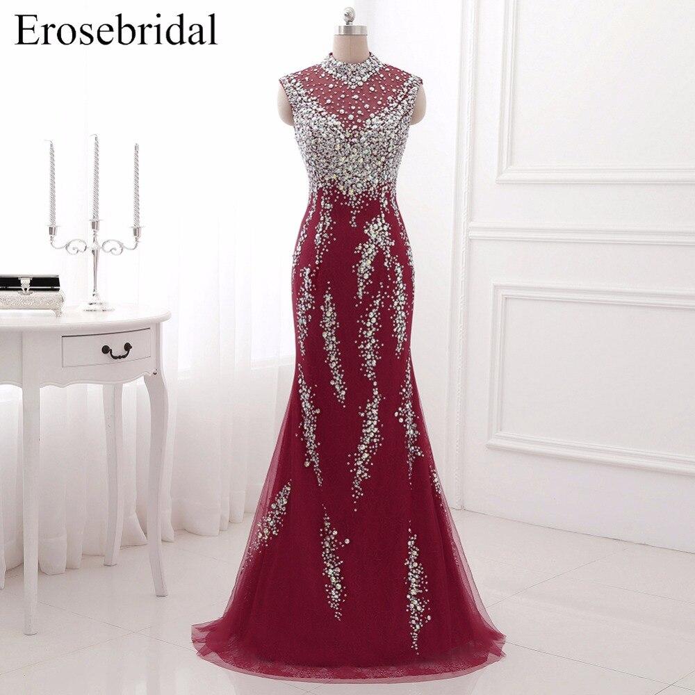 Высокий воротник красный Вечерние платья EroseBridal Красивый Кристалл Длинные платье для выпускного вечера Сексуальная Иллюзия Праздничное пл…