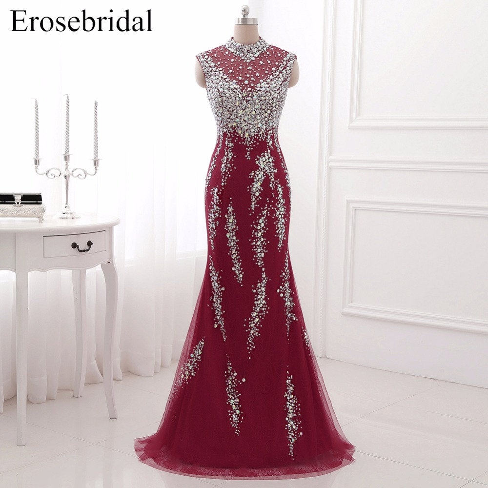 Best Selling Burgundy Mermaid Long   Evening     Dress   Lace Formal Women Wear Illusion Back Crystal Beading Drop Shipping