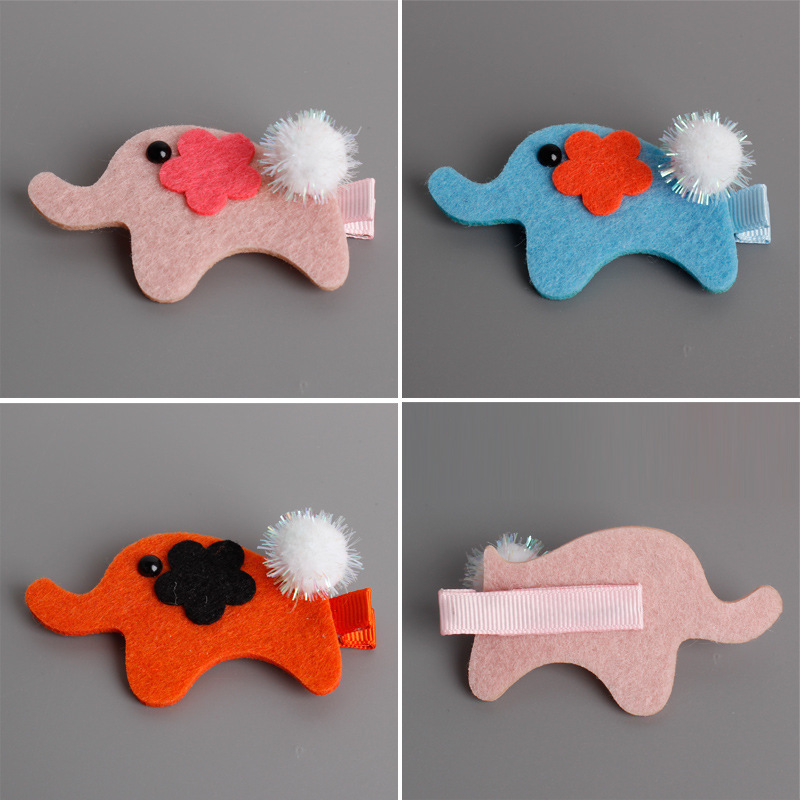 2pcs=1 lot Animation Cartoon Elephant Styling Hair Clip Girls Hairgrips Cotton Hair Bows Hairpins Hair Accessories