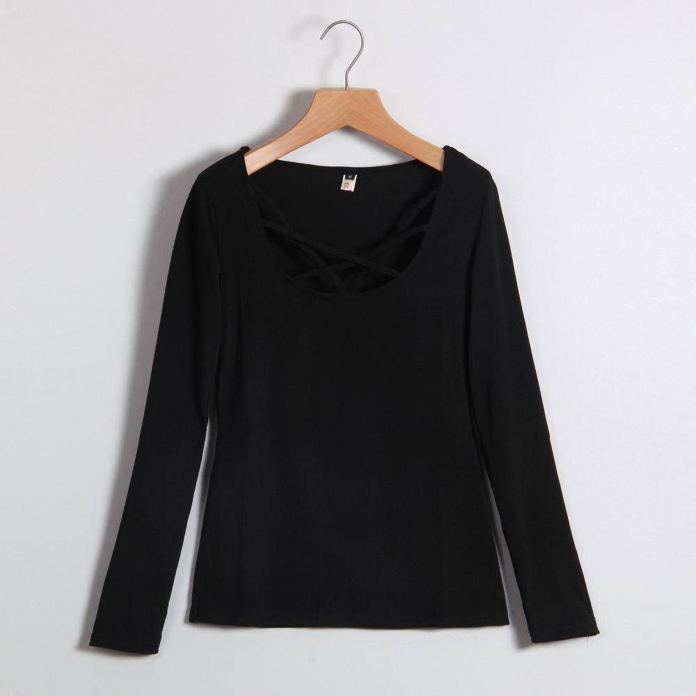 Kobiety Koszulki Z Długim Rękawem Topy Hollow Out Bandaż Swetry Slim Sexy Topy Tees Blusas plus size LJ4515M Femme 5