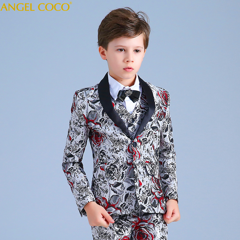 Print Process Catwalk Children Suit Set Blazer Boys Suits For Weddings Formal Suit Costume Enfant Garcon Mariage Prom Suits elk print pattern boys clothing blazer catwalk children s piano costumes hosted clothes thick winter boys suits for weddings set