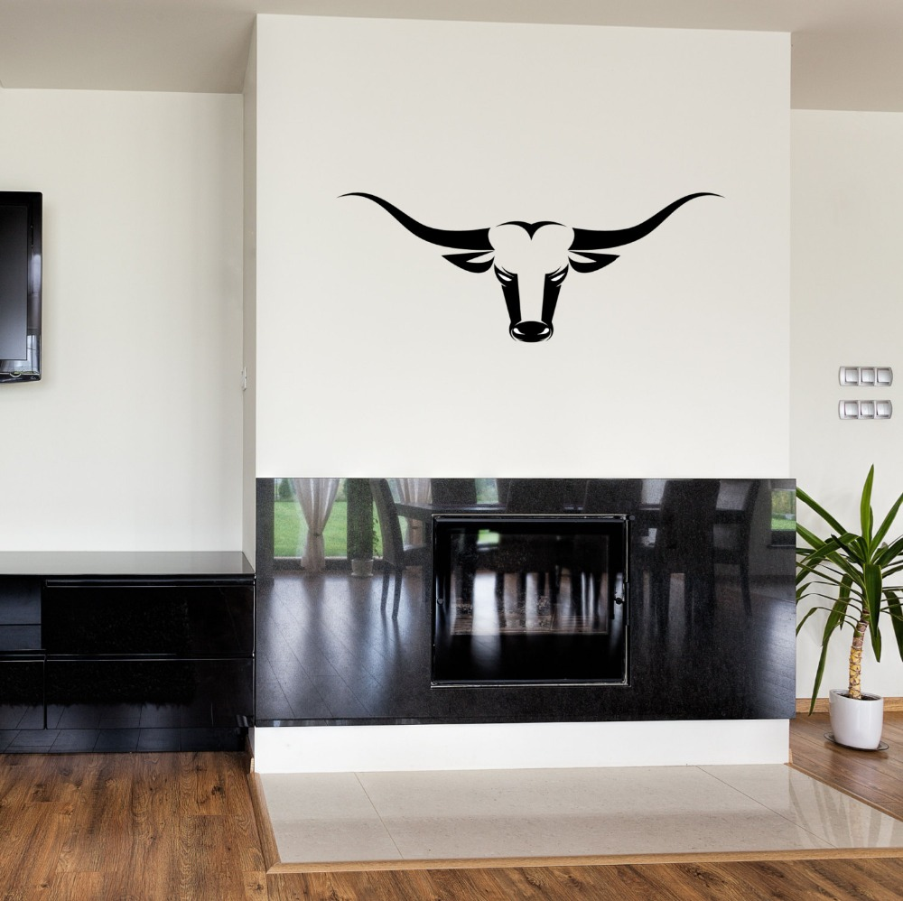 Bull Cow Head Skull Wall Stickers Ranch Hunting Decal Vinyl Adhesive Modern DIY Art Mural Home Living Room Wall Decals SYY181