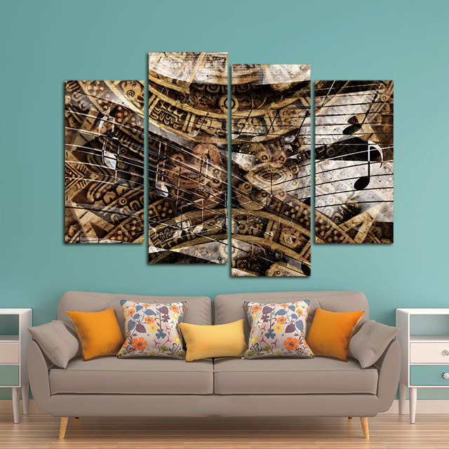 4 Piece NO Framed Canvas Prints Ancient Mayan Calendar and Music ...