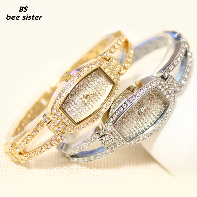 New Arrivals Brand BS Bling 14k Gold Full Diamond Women Bling Crystal Watch Lady Luxury Dress Watch Rhinestone Bangle Bracelet 2017 new arrivals famous brand full diamond luxury women watch lady dress watch rhinestone bling crystal bangle watches female