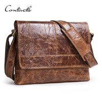 CONTACT S Genuine Crazy Horse Leather Bag Men Messenger Bags Multifunction Shoulder Crossbody Bags With Zipper
