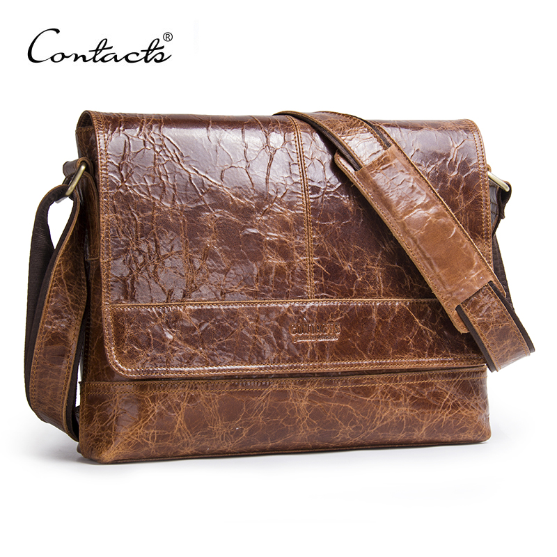 CONTACT'S Genuine Crazy Horse Cowhide Leather Bag Men Messenger Bags Multifunction Shoulder Crossbody Bags Handbags iPad Holder