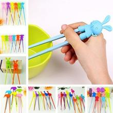 1 pair Practical Children Kids Baby Beginner Cartoon Style Easy Fun Learning Training Helper Chopsticks Random Color