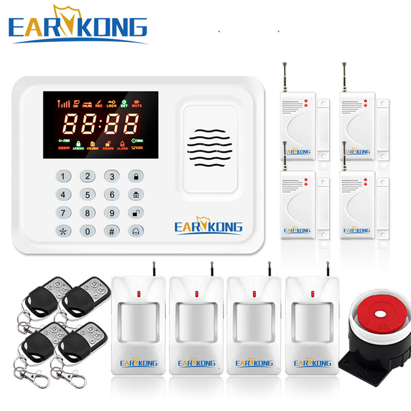 Home Burglar GSM Alarm System, Support English Russian Spanish language voice, LED Color Screen Display, 433MHz Sensor Alarm