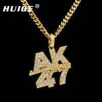 Men Women Rock Jewelry Gifts Gold Color Bling AK47 Submachine Gun Rhinestone Pendants Necklaces Hip Hop