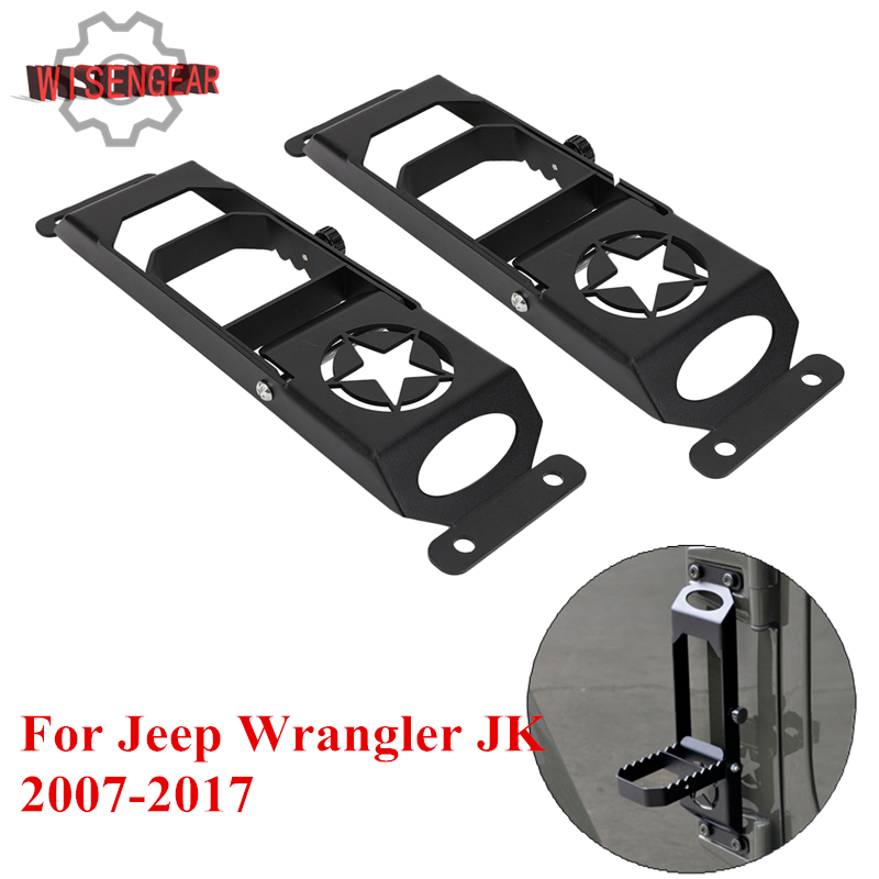 WISENGEAR Anti-Rust Steel Foot Rest Pedal Foot Pedal Peg For Jeep Wrangler JK 2007-2017 Car Exterior Pedal Foot Board CEK145-2 j184 lantsun pair of foot pegs for 2007 2016 jeep wrangler jk 2dr 4dr