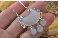 Handmade Vintage Thai Silver 925 Pure Silver Jewelry Cat Eye Chalcedony Pendant Tassel Longevity Lock Necklace