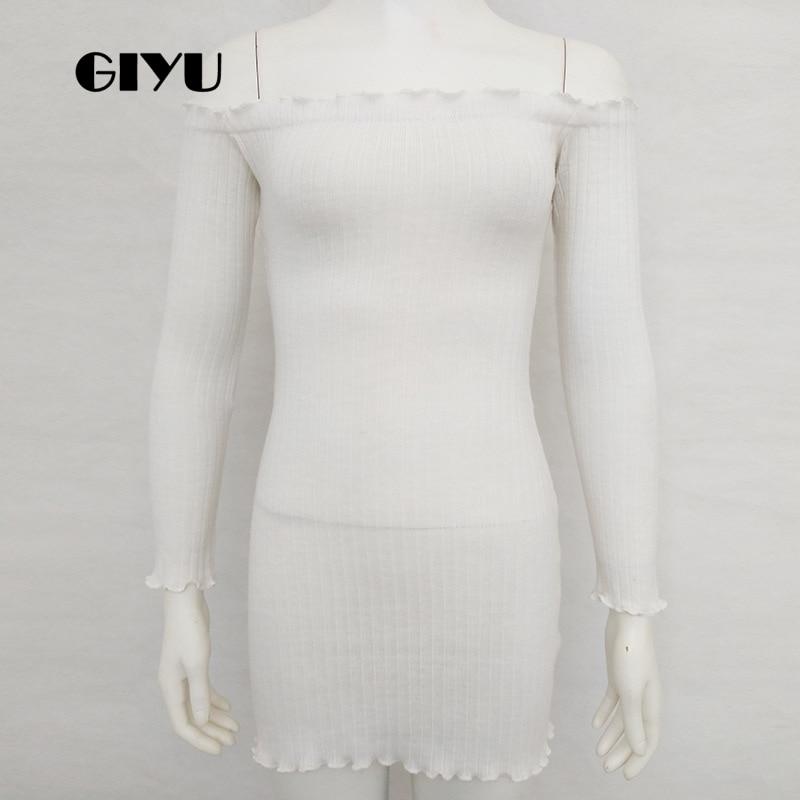 GIYU Women Ribbed Slash Neck Dress Long Sleeve Short Dresses Casual Solid Vestido Sexy Ruffles Skinny robe femme in Dresses from Women 39 s Clothing
