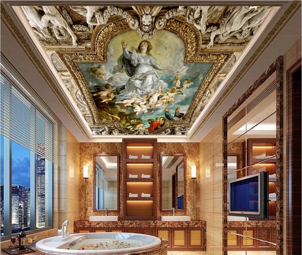 custom photo 3d ceiling murals wallpaper European mythological figure angelic painting 3d wall murals wallpaper for walls 3 d custom 3d photo wallpaper for walls 3 d wall murals wallpaper 3d european style white building palace living room tv wall paper