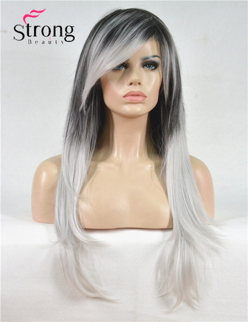 Long Straight Black Silvery Grey Ombre Side Swept Bangs Synthetic