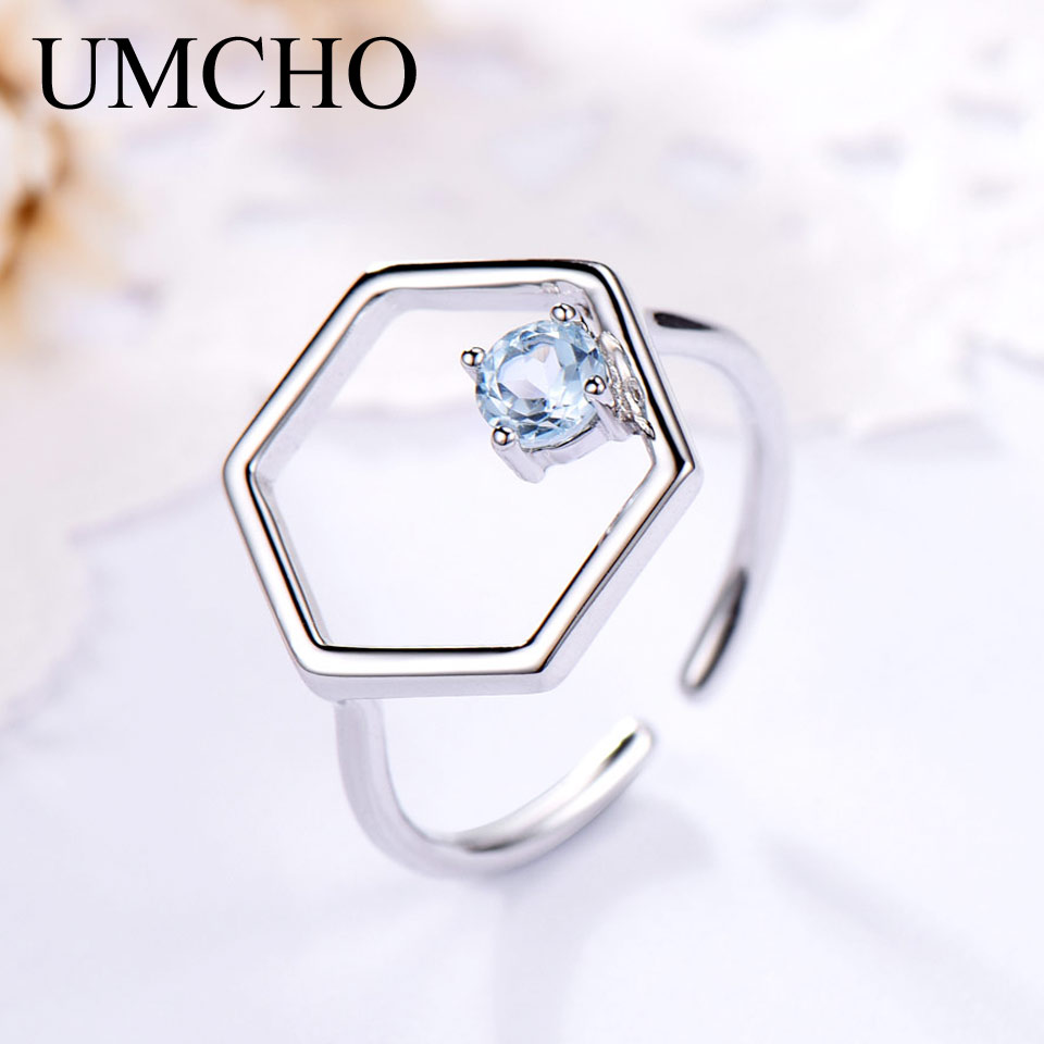 UMCHO Natural Sky Blue Topaz Gemstone Real 925 Sterling Silver  Rings For Women Anniversary Wedding Fine Jewelry 2018 New