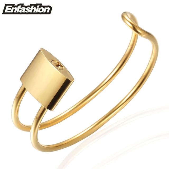 Enfashion Jewelry Lock Bracelet Noeud armband Gold Plated Stainless Steel Bangle Bracelet For Women Cuff Bracelets Bangles