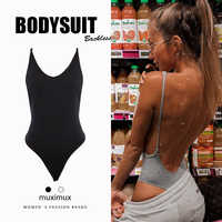 2019 Summer Women Sexy Bodysuit Spring Fashion Casual Backless Spaghetti Strap Black Bodysuit Body For Women Short Jumpsuit