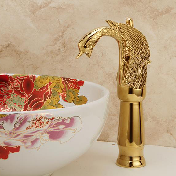 Newly Luxury Style Bathroom Sink Basin Faucet Golden Polished Swan Shape Single Handles Solid Brass Mixer Tap Deck Mounted 1204 modern style golden color bathroom sink faucet single handle mixer tap solid brass deck mounted